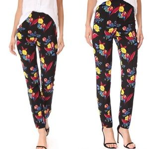 DVF • High Waisted Black Floral Skinny Dress Pants